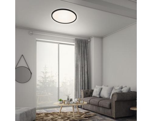 Panneau LED métal/plastique à intensité lumineuse variable CCT 22W3000 lm2700- 6500 K blanc chaud- blanc naturel avec télécommande Backlight hxØ 29x420 mm Slim rond noir