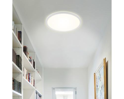 Panneau LED métal/plastique à intensité lumineuse variable CCT 18W2400 lm2700- 6500 K blanc chaud- blanc naturel avec télécommande Backlight hxØ 28x293 mm Slim rond blanc