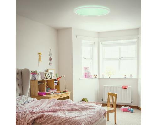 Panneau LED métal/plastique RGB-W 22W2700 lm4000 K blanc neutre Backlight avec télécommande + changement de couleur hxØ 28x420 mm Slim rond blanc