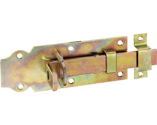 Schlossriegel mit flachem Griff und Schlaufe 140 x 52 mm, Galv. gelb verzinkt