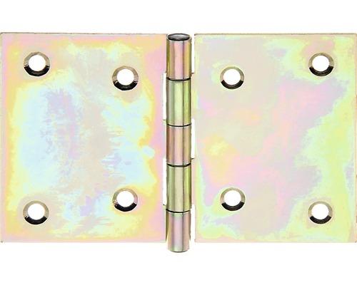 Charnière large avec une tige en laiton rivetée, 81x126mm, jaune en acier galvanisé