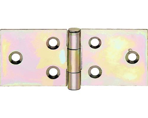 Bandeau de table large avec une tige en laiton rivée, 25x60,5mm, jaune en acier galvanisé