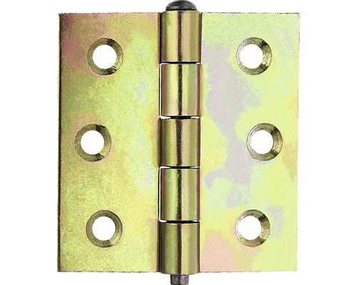 Charnière carrée avec une tige en laiton, 63,5x63mm, jaune en acier galvanisé