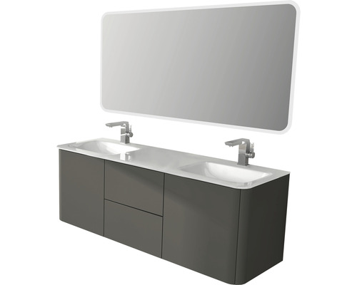 Kit de meubles de salle de bains CEYLAN TALPA GRIS MAT 190x48cm