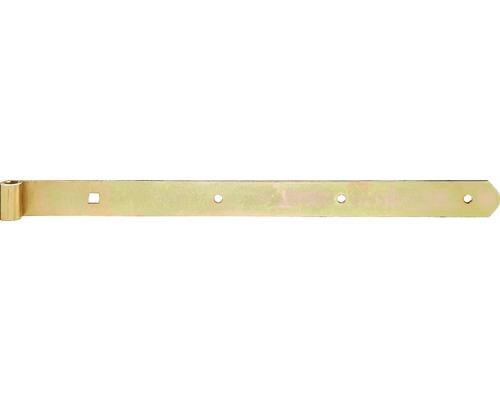 Paumelle de volet Type 4 de forme droite, légère, 400x10x30mm, galvanisée jaune