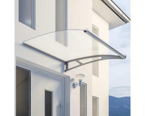Marquise auvent incurvé Schulte LT Line Modular XL module d''extension 121,8x142 cm verre acrylique satiné