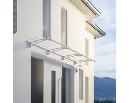 Marquise auvent incurvé Schulte LT Line blanc 270x95 cm verre acrylique transparent
