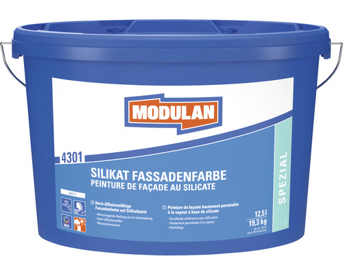 Peinture minérale extérieure pour façade au silicate MODULAN 4301 blanc 12,5l