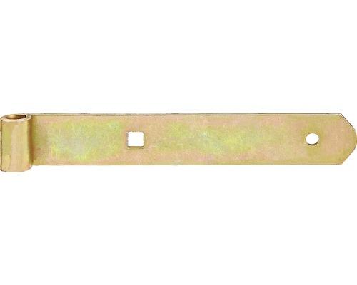 Paumelle de volet Type 4 de forme droite, légère, 200x10x30mm, galvanisée jaune
