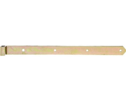 Paumelle de volet Type 8 de forme droite, légère, 600x16x45mm, galvanisée jaune