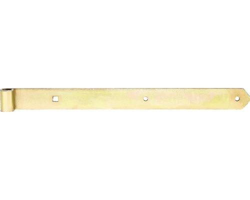 Paumelle de volet Type 8 de forme droite, légère, 500x16x45mm, galvanisée jaune