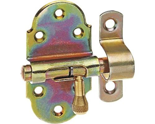 Verrou de base avec bouton en laiton et dragonne attachée, 40x75mm, jaune en acier galvanisé