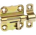 Verrou de base avec bouton et dragonne attachée, 35x33mm, jaune en acier galvanisé