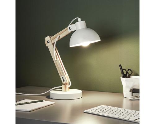 Lampe de bureau Moda 1 ampoule h 415 mm bois naturel blanc