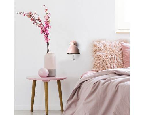 Applique murale 1 ampoule Telio rose avec interrupteur à tirette h 125 mm