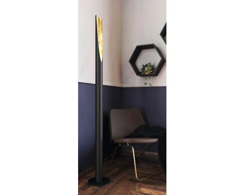 Lampadaire à LED acier 5,0W 340 lm 3000 K blanc chaud hxØ 1370x60 mm Barbotto noir/or avec interrupteur à pied