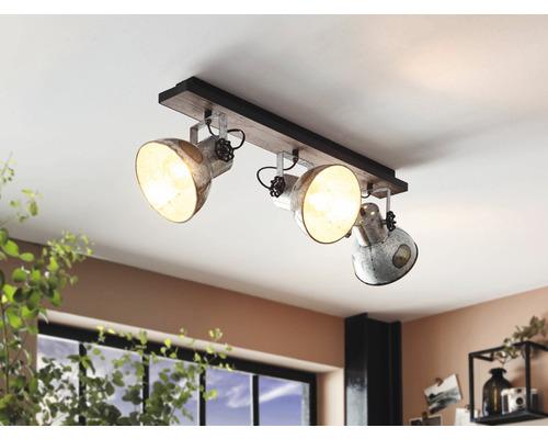 Plafonnier acier/bois à 3 ampoules Lxl 750x90 mm Barnstaple marron-patine/noir