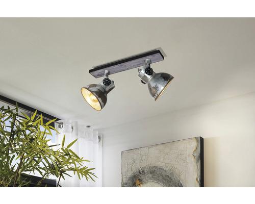 Plafonnier acier/bois à 2 ampoules Lxl 475x90 mm Barnstaple marron-patine/noir