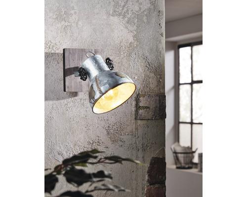 Applique murale acier/bois à 1 ampoule Lxl 160x160 mm Barnstaple marron-patine/noir