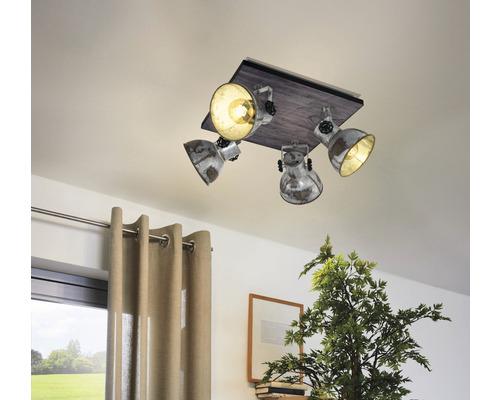 Spot de plafond acier/bois à 4 ampoules Lxl 450x450 mm Barnstaple marron-patine/noir
