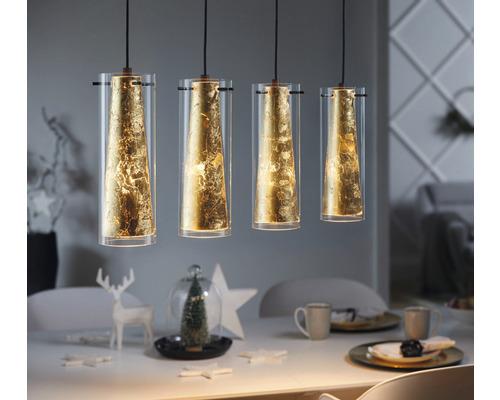 Suspension acier/verre à 4 ampoules Lxlxh 905x360x1100 mm Pinto Gold noir verre transparent/or
