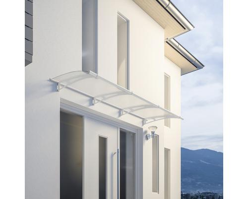 Marquise auvent incurvé Schulte LT Line blanc 270x95 cm verre acrylique satiné