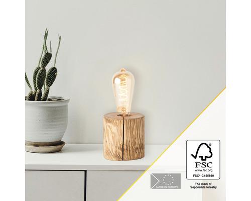 Lampe de table bois 1 ampoule hxØ 100x100 mm Trabo pin décapé avec cordon avec interrupteur