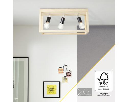 Plafonnier bois 3 ampoules hxLxp 250x520x200 mm Nerea chêne huilé