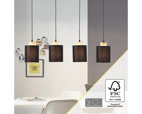 Suspension bois/ textile 4 ampoules hxL 1200x780 mm Vonnie couleur bois abat-jour noir