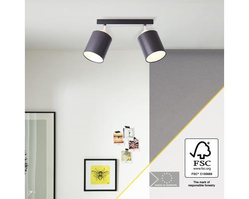 Spot de plafond bois, textile 2 ampoules hxL 260x480 mm Vonnie couleur bois abat-jour noir