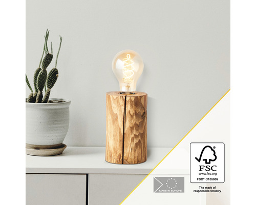 Lampe de table bois 1 ampoule hxØ 150x100 mm Trabo pin décapé avec cordon avec interrupteur