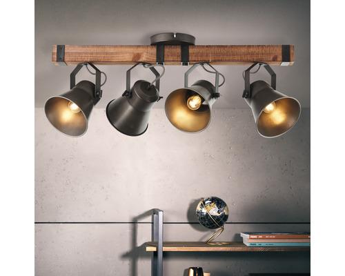 Spot de plafond à 4 ampoules hxl 340/780 mm Decca bois/métal marron/noir-acier