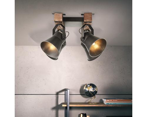 Spot de plafond à 4 ampoules hxl 400/480 mm Decca bois/métal marron/noir-acier
