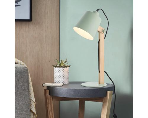 Lampe de table 1 ampoule Swivel hêtre/mint/mat h 515 mm
