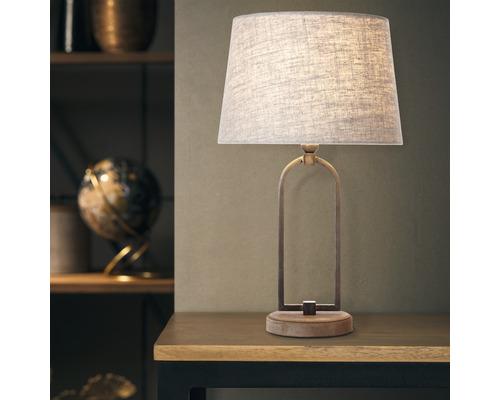 Lampe de table 1 ampoule Sora textile beige/marron hxØ 500/300 mm avec interrupteur intermédiaire à cordon