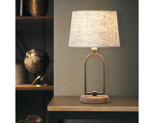 Lampe de table 1 ampoule Sora textile beige/marron HxØ 435/250 mm avec interrupteur intermédiaire à cordon