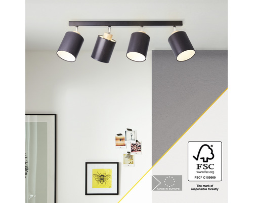 Spot de plafond bois, textile 4 ampoules hxL 260x870 mm Vonnie couleur bois abat-jour noir