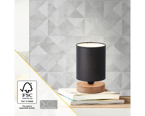 Lampe de table bois/ textile 1 ampoule hxØ 205x130 mm Vonnie couleur bois abat-jour noir avec cordon avec interrupteur