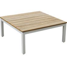 Loungeset Garden Place Deluxe aus Holz Aluminium 4-Sitzer 4-teilig weiss Eukalyptus geölt inkl. Auflagen-thumb-1