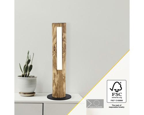Lampe de table LED bois, métal à intensité lumineuse variable 8W 630 lm 3000 K blanc chaud hxØ 450x150 mm Odun pin décapé, noir avec variateur d''intensité tactile