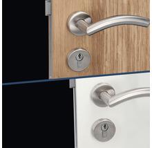 Poignée sur rosace Peking II acier inoxydable/satiné cylindre profilé avec 2 poignées pour portes intérieures gauche/droite-thumb-3