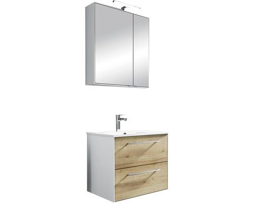 Ensemble de meubles de salle de bains Pelipal Xpressline 3065 63 cm avec vasque et armoire de toilette chêne Riviera