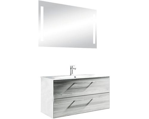Ensemble de meubles de salle de bains Pelipal Xpressline 3065 100 cm avec vasque et miroir Sangallo gris