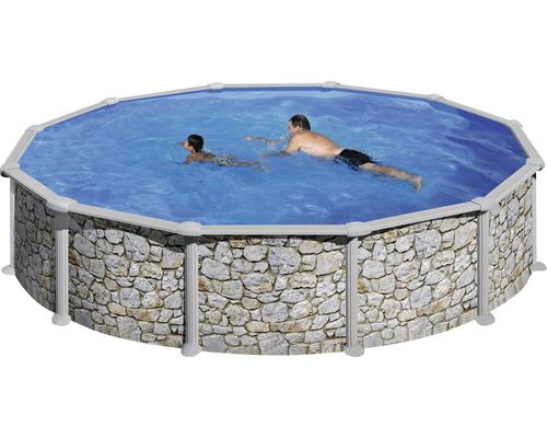 Kit piscine hors sol à paroi en acier Solo rond Ø 460x120 cm avec skimmer intégré aspect pierre