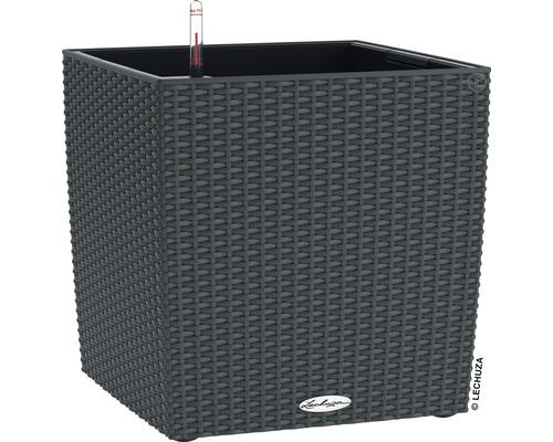 Bac Lechuza Cube Cottage plastique 40x40x44 cm granit avec système d''arrosage en terre et indicateur de niveau d''eau