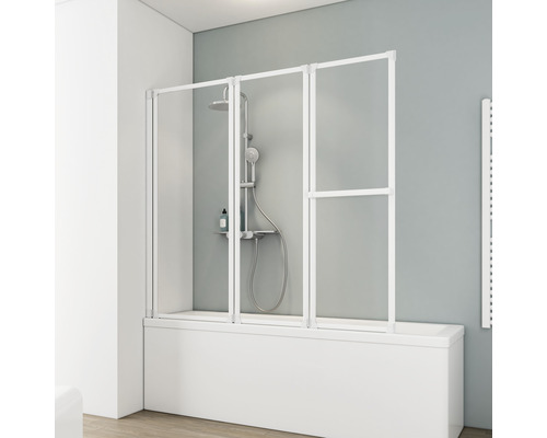 Pare-baignoire Schulte 3 pièces verre synthétique Décor Softline clair blanc alpin avec porte-serviettes D1410