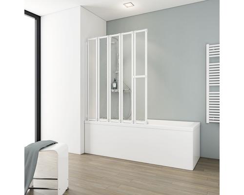 Pare-baignoire Schulte 5 pièces Décor Softline claire blanc alpin avec porte-serviettes