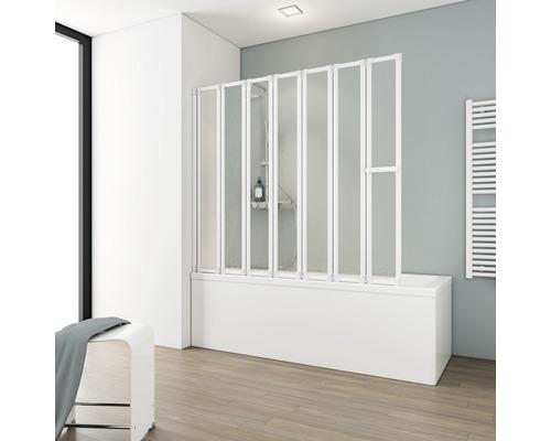 Pare-baignoire Schulte 7 pièces Décor Softline clair blanc alpin avec porte-serviettes