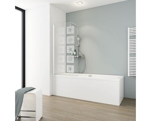 Pare-baignoire Schulte 1 pièce Décor Coquille blanc alpin