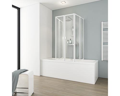 Pare-baignoire Schulte 2 x 3 pièces avec paroi latérale Décor Softline clair blanc alpin